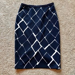 Navy blue and white long pencil skirt